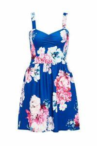 Royal Blue Floral Print Skater Dress