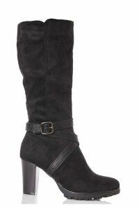 Black Faux Suede Strap Calf Boots