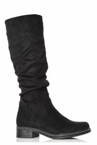 Black Faux Suede Ruched Calf Boots