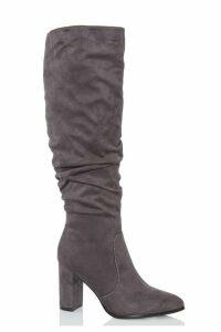 Grey Ruched Knee High Block Heel Boots