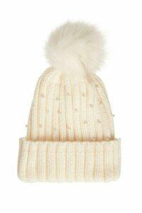 Cream Pearl Pom Knit Hat