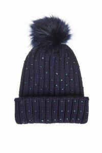 Navy Jewel Trim Pom Knit Hat