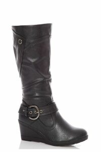 Black Buckle Wedge Calf Boot