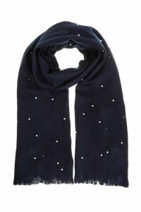 Navy Pearl Knit Scarf