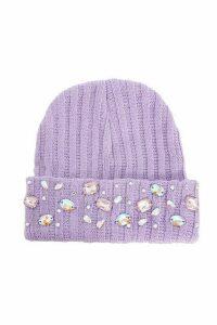 Purple Jewel Beanie Hat