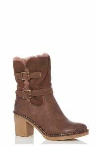 Tan Faux Fur Fold Over Ankle Boots