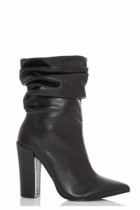 Black Slouch Chunky Heel Ankle Boots