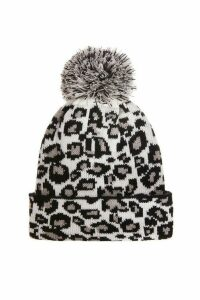 White Leopard Knit Pom Hat