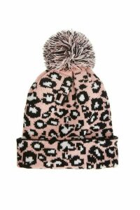 Pink Leopard Knit Pom Hat