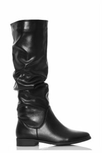 Black Ruched Flat Calf Boots