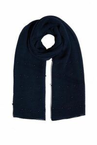 Navy Ribbed Pearl Scarf