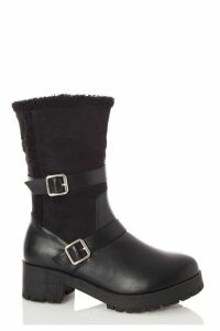 Wide Fit Black Faux Leather Buckle Detail Calf Boots
