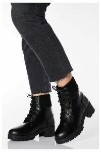Wide Fit Black Faux Leather Lace Up Hiker Boots