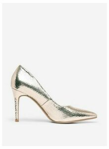 Womens Wide Fit Gold 'Danielle' Court Shoes, Gold