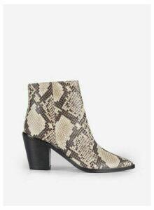 Womens Multi Colour Snake Print Leather 'Ocean' Boots- Animal, Animal