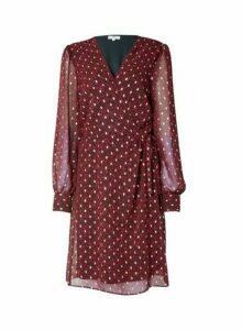 Womens Tall Pink Spot Wrap Mini Dress, Pink