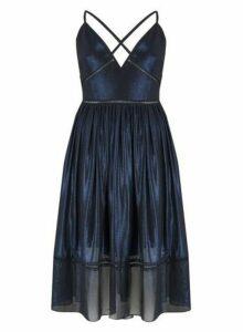 Womens **Little Mistress Navy Blue Foil Dress, Blue