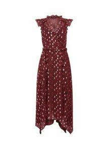 Womens Red Leopard Print Foil Asymmetric Ruffle Midi Dress, Red