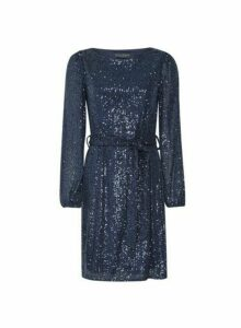 Womens Blue Sequin Belted Fit And Flare Dress, Blue
