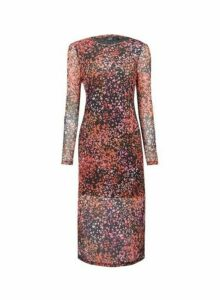 Womens Lola Skye Pink Printed Mesh Midi Dress, Pink