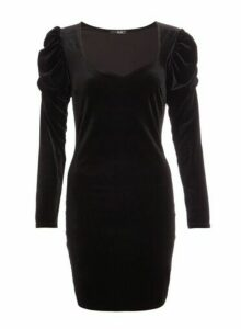 Womens *Quiz Black Bodycon Dress, Black