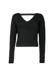 Womens **Lola Skye Black Wrap Jumper, Black