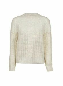 Womens Petite Ivory Cable Jumper- White, White