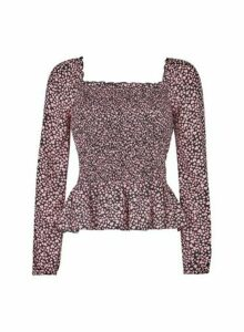 Womens **Lola Skye Pink Heart Print Shirred Top, Pink