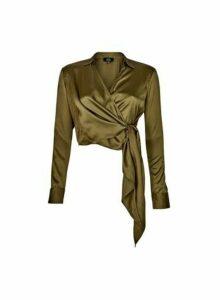 Womens **Lola Skye Green Wrap Shirt, Green
