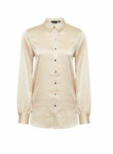 Womens Gold Longline Shirt, Gold