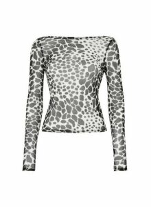 Womens **Lola Skye Black Animal Print Scoop Top, Animal