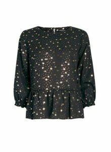 Womens Black Star Print Peplum Hem Top, Black