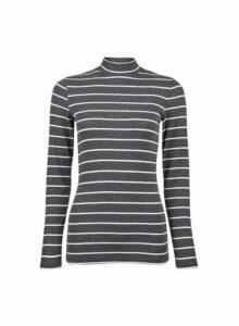 Womens Charcoal Ecru Stripe Print Funnel Neck Top - Grey, Grey