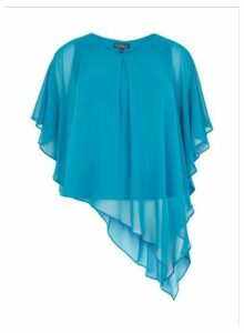 Womens **Billie & Blossom Curve Teal Overlay Top- Blue, Blue