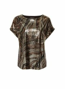 Womens Marble Sequin T-Shirt- Brown, Brown