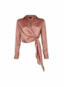 Womens **Lola Skye Blush Wrap Shirt - Pink, Pink