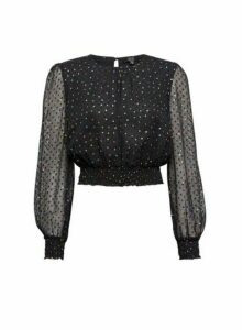 Womens **Lola Skye Black Chiffon Polka Dot Print Top, Black