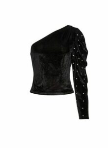 Womens **Lola Skye Black Velvet One Shoulder Top, Black
