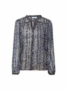 Womens **Tall Navy Floral Print Shirt- Blue, Blue