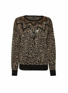Womens Multi Colour Leopard Print Sequin Jumper- Black, Black