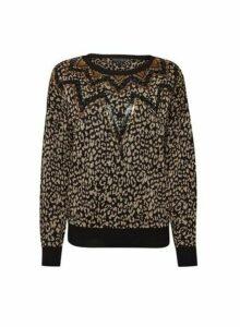 Womens Multi Colour Leopard Print Sequin Jumper- Black, Black