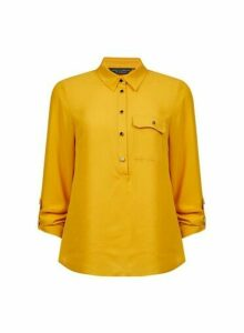 Womens Yellow Roll Sleeve Shirt- Orange, Orange