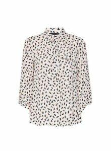 Womens Ivory Brushstroke Print Shirt, Ivory