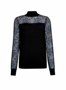Womens Black Lace Yoke High Neck Jumper, Black