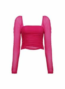 Womens **Lola Skye Pink Ruched Sleeve Mesh Top, Pink