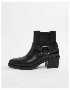 Vagabond Simone leather western buckle ankle boots-Black