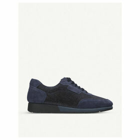 Comma suede and glittered-fabric trainers