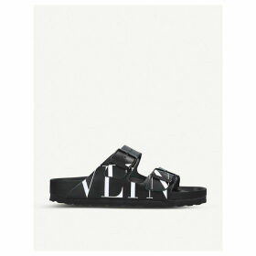 Valentino x Birkenstock logo-print leather sliders