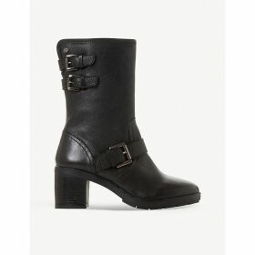 Rileys faux-leather strapped biker boots