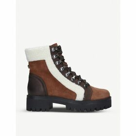 Groove faux shearling-trim faux-leather ankle boots